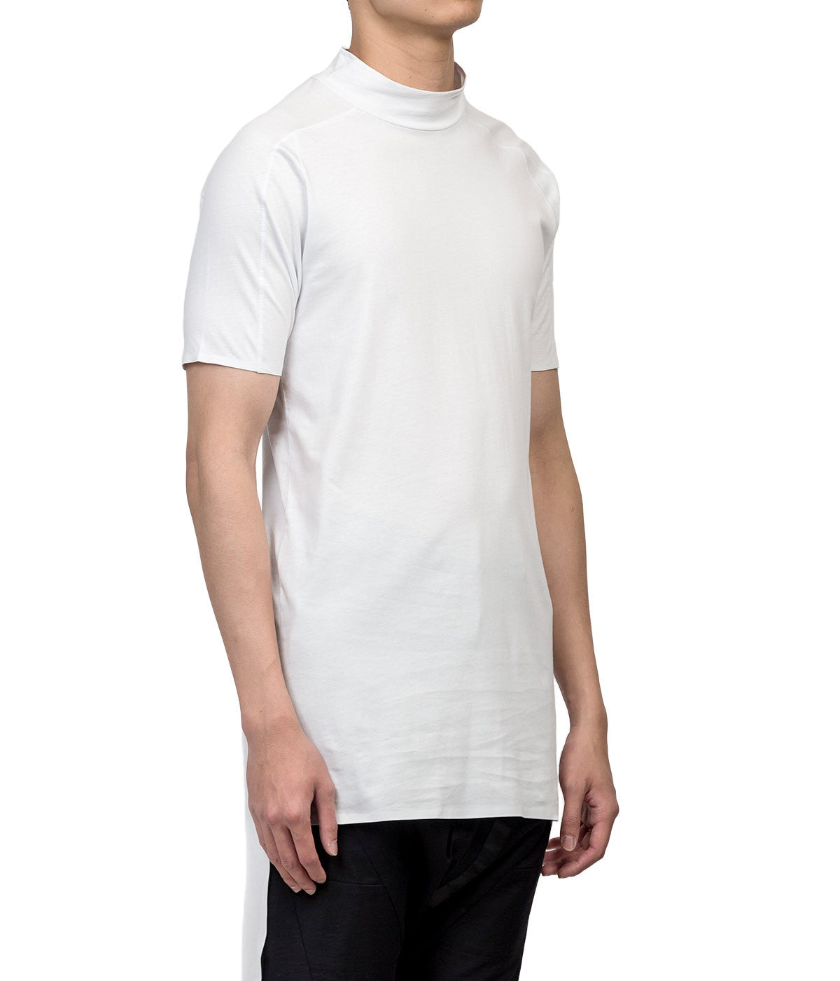 White High Neck Long T-shirt