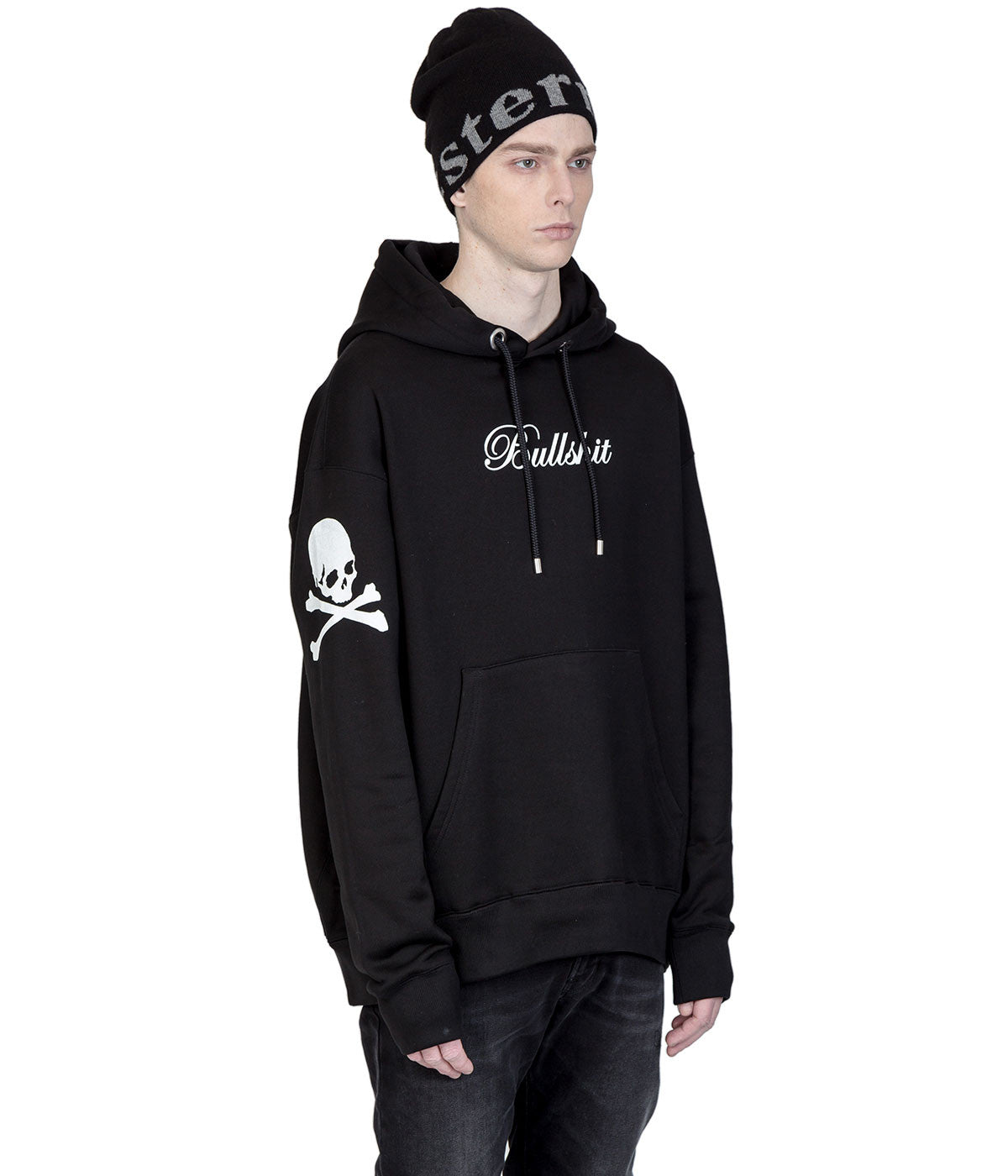 Black Oversized Hood Graphic Sweatshirt