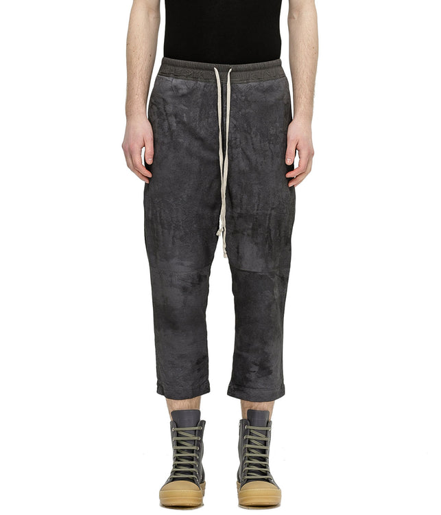 Iron Grey Cropped Lamb Leather Pants