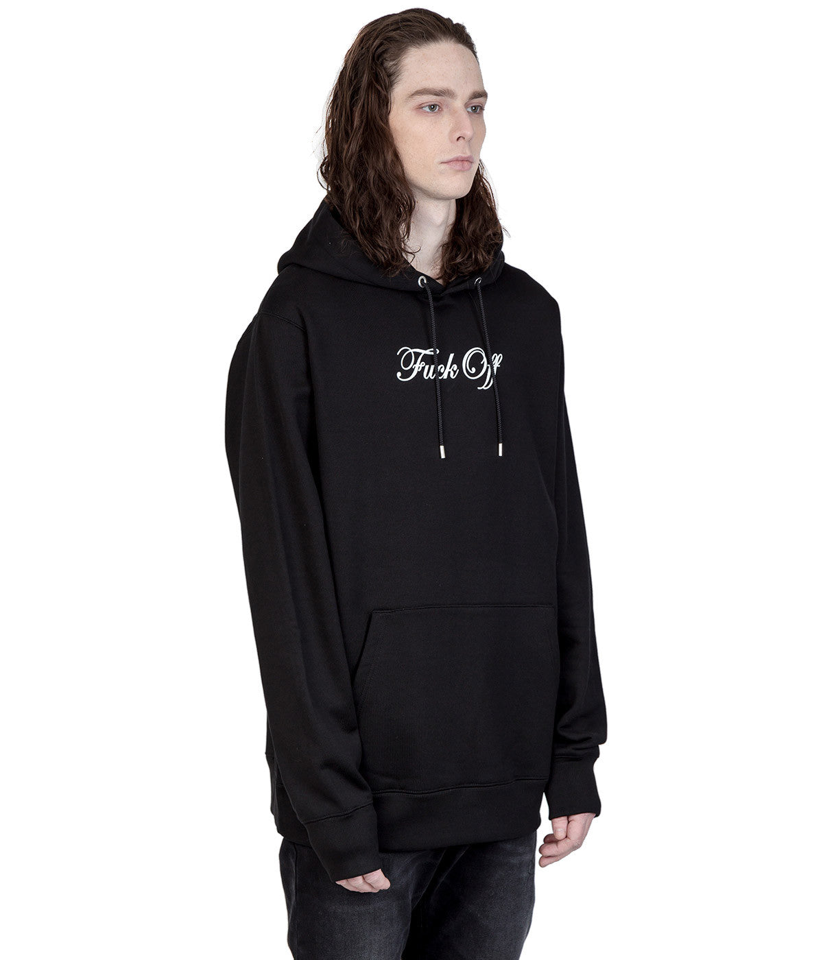 Black Graphic 'Fuck Off' Hoodie