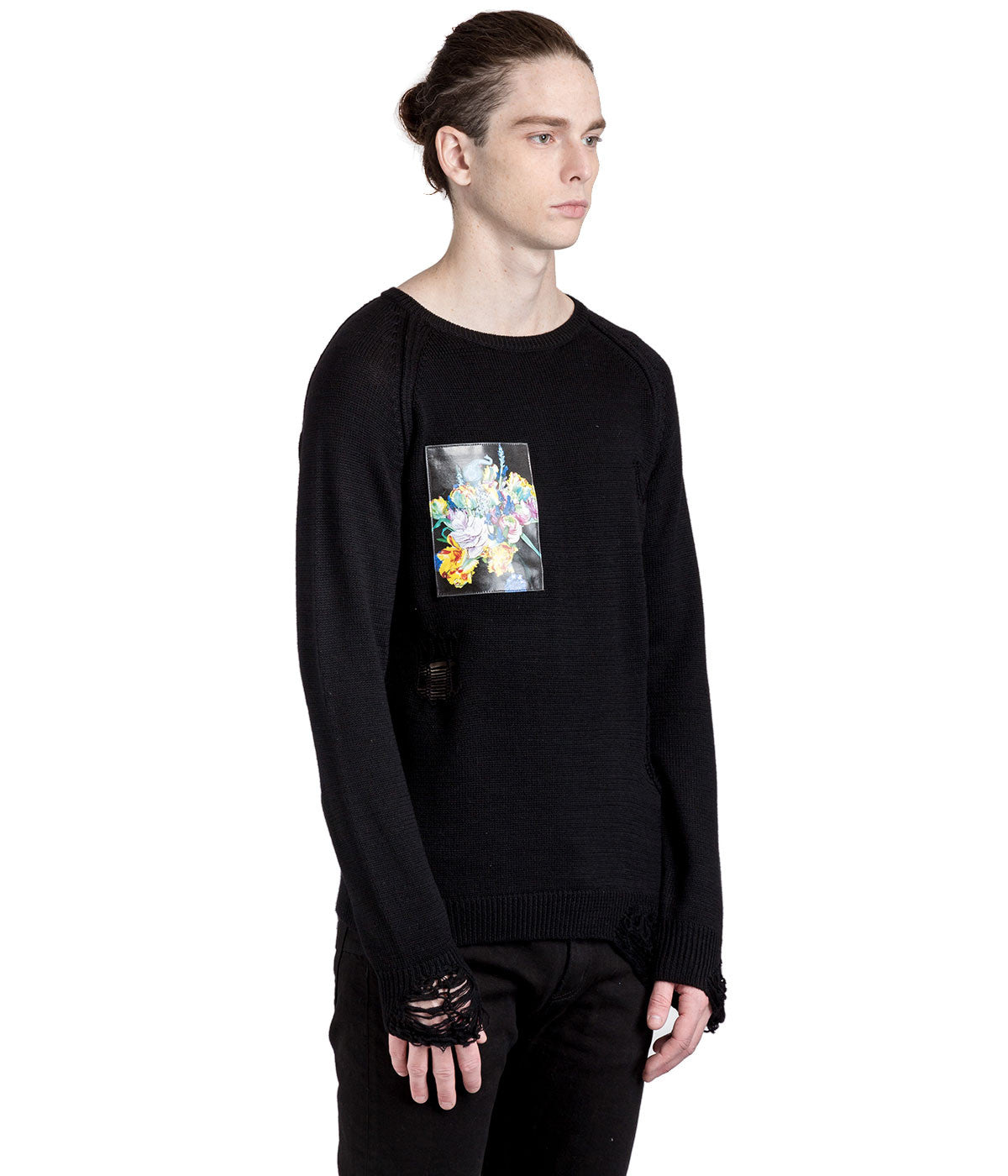 Black Destroyed Knit Sweater