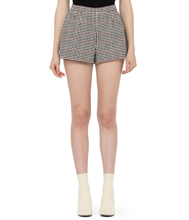 Black Houndstooth Check Shorts