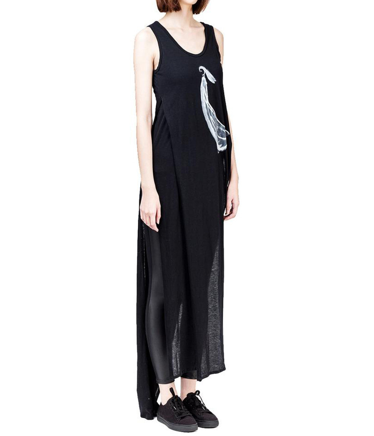 Elongated Dual Layer Cotton Jersey Tank Top