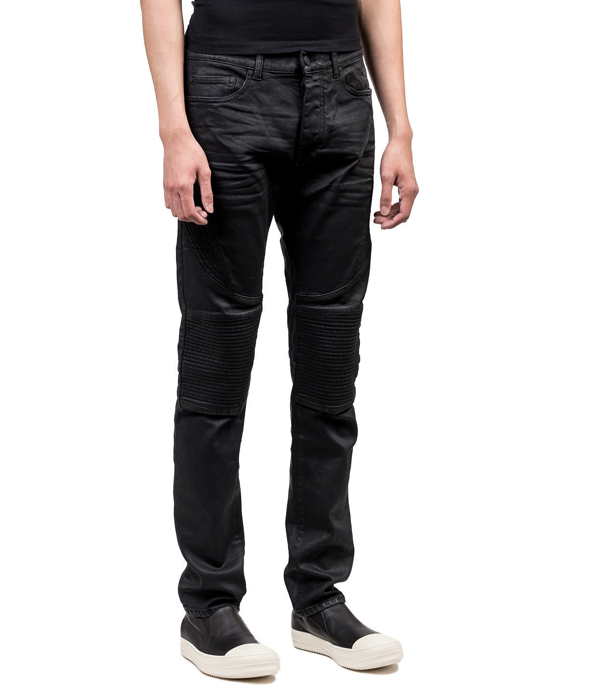 Slim Coated Biker Jeans