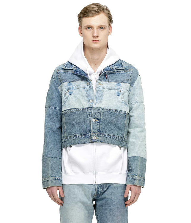 Blue Patched Denim Jacket