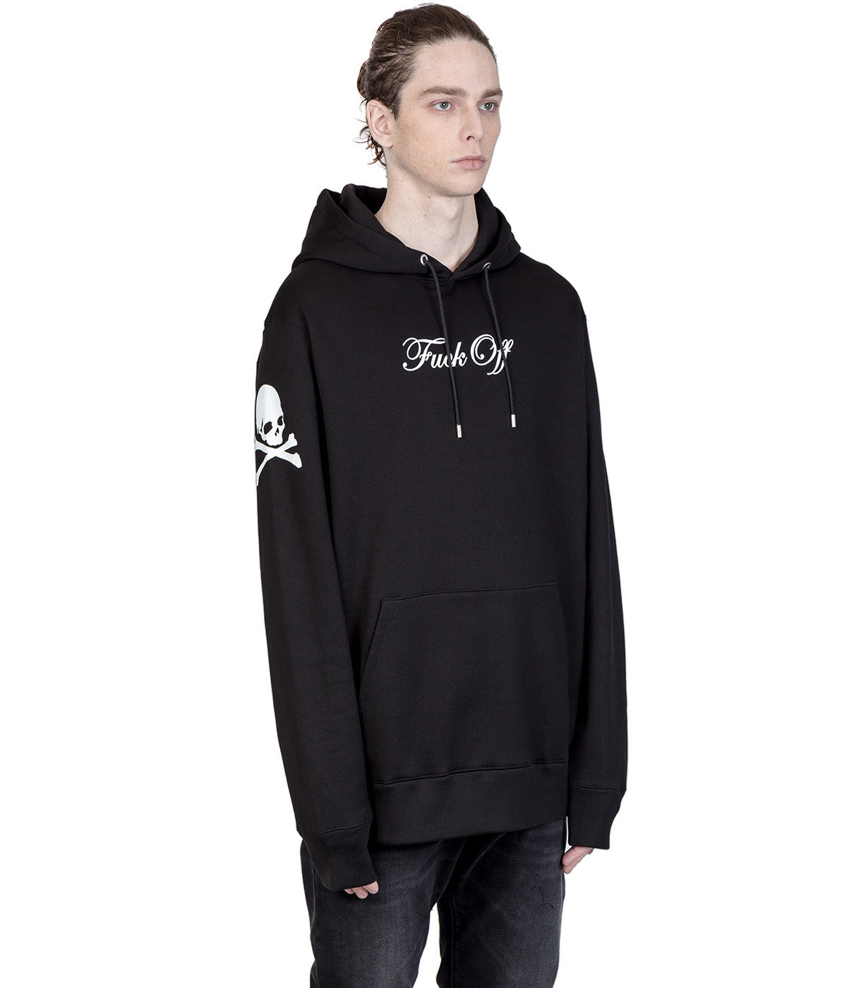 Black Printed Hood Sweatshirt
