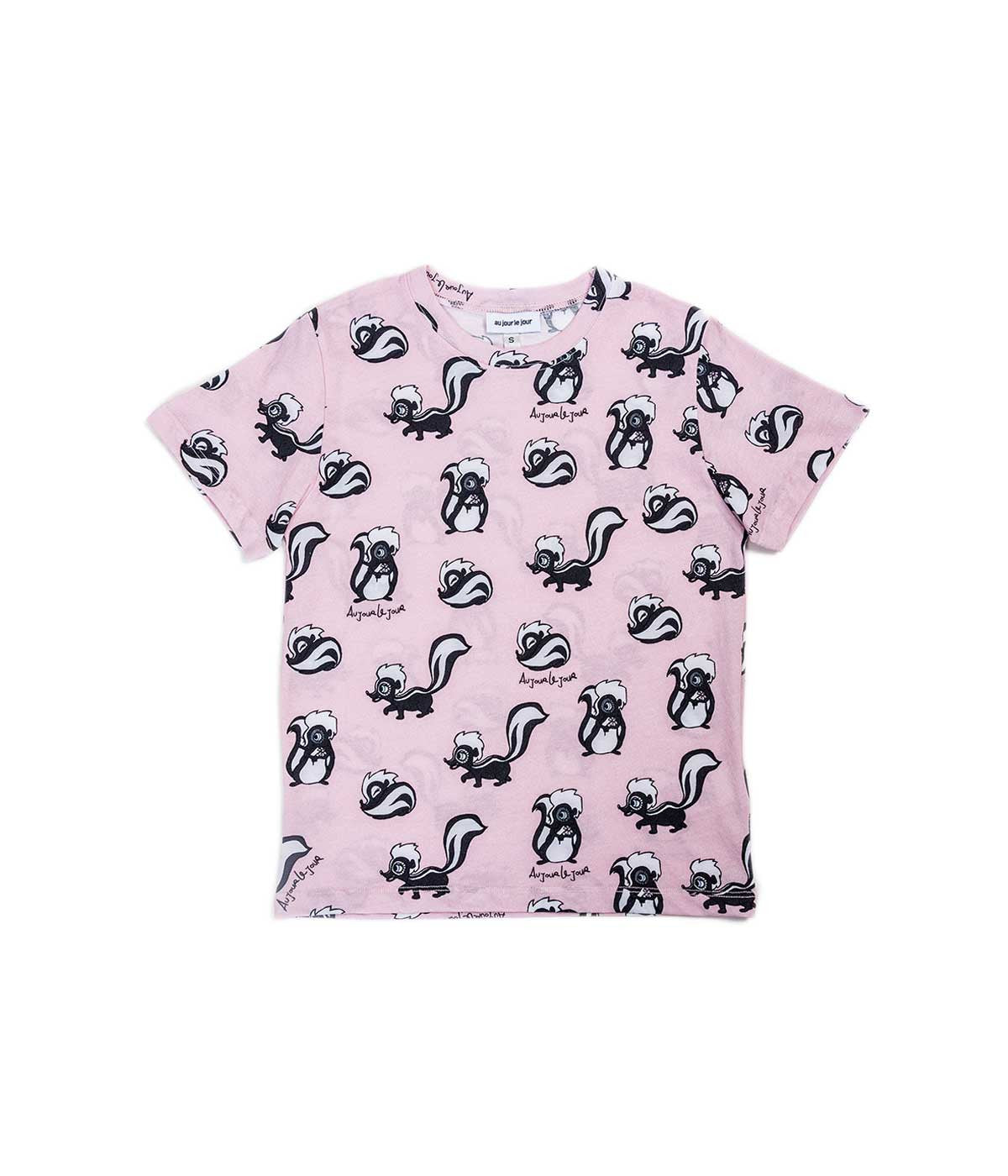 Pink Allover Skunk Print T-shirt