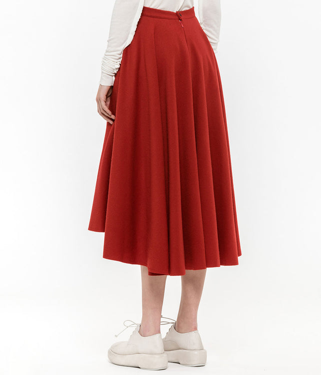 Red Flared Skirt