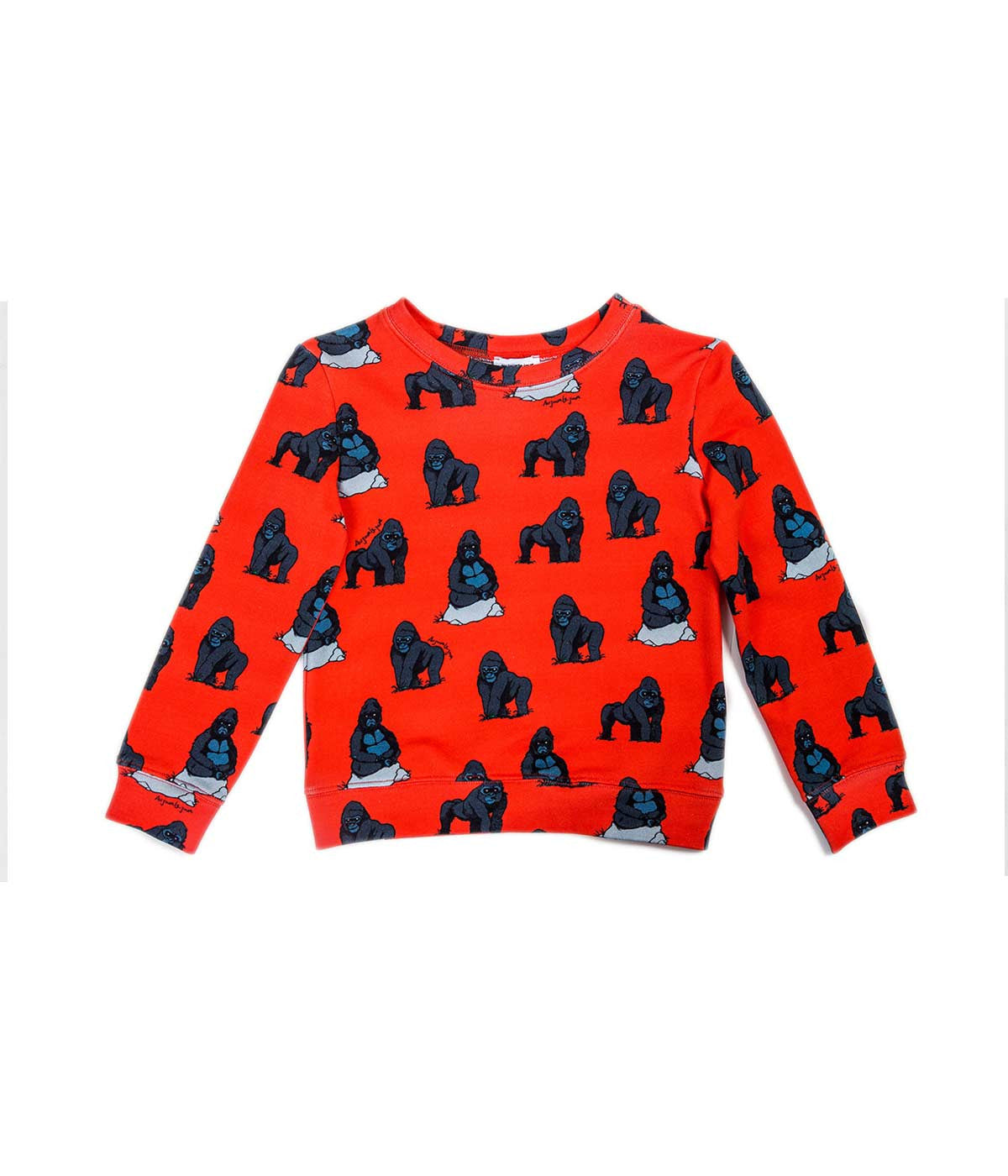 Red Orange Gorilla Print Sweatshirt