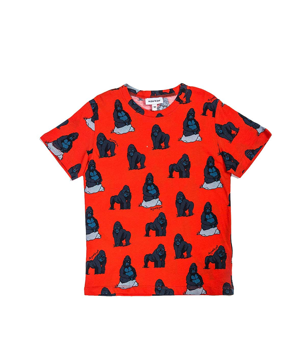 Red Orangle Gorilla Print T-shirt