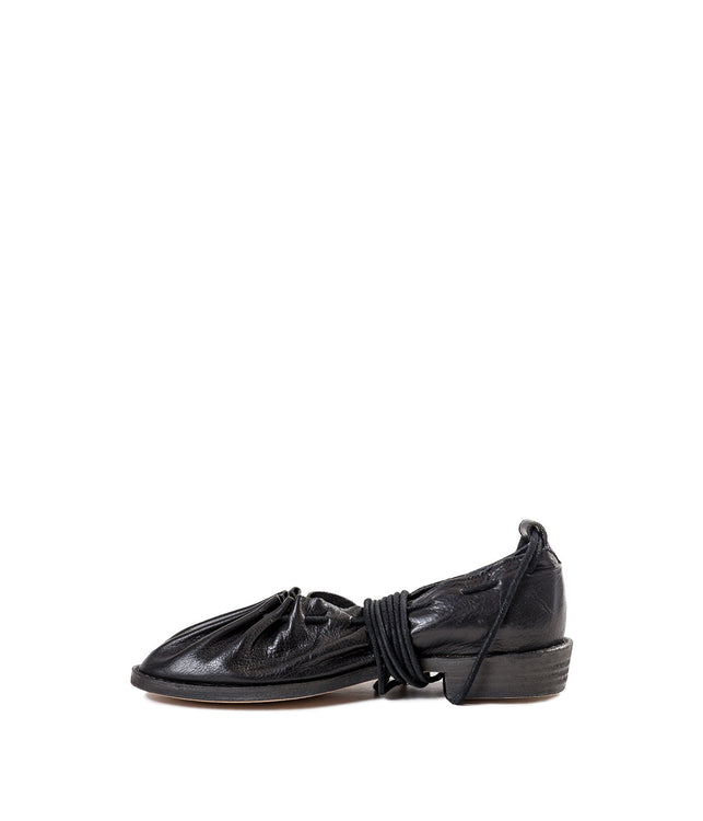 Black Lace-Up Ballerinas Shoes