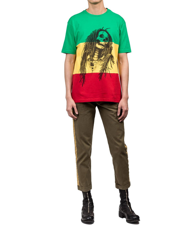 Green Yellow Red Radta Skull T-shirt