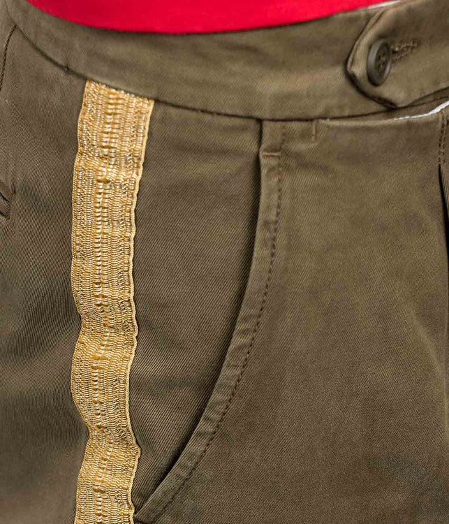 Military Green Washed Trousers