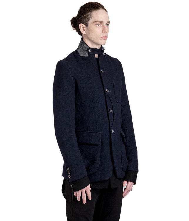 Navy Blue Newspaper Jacket