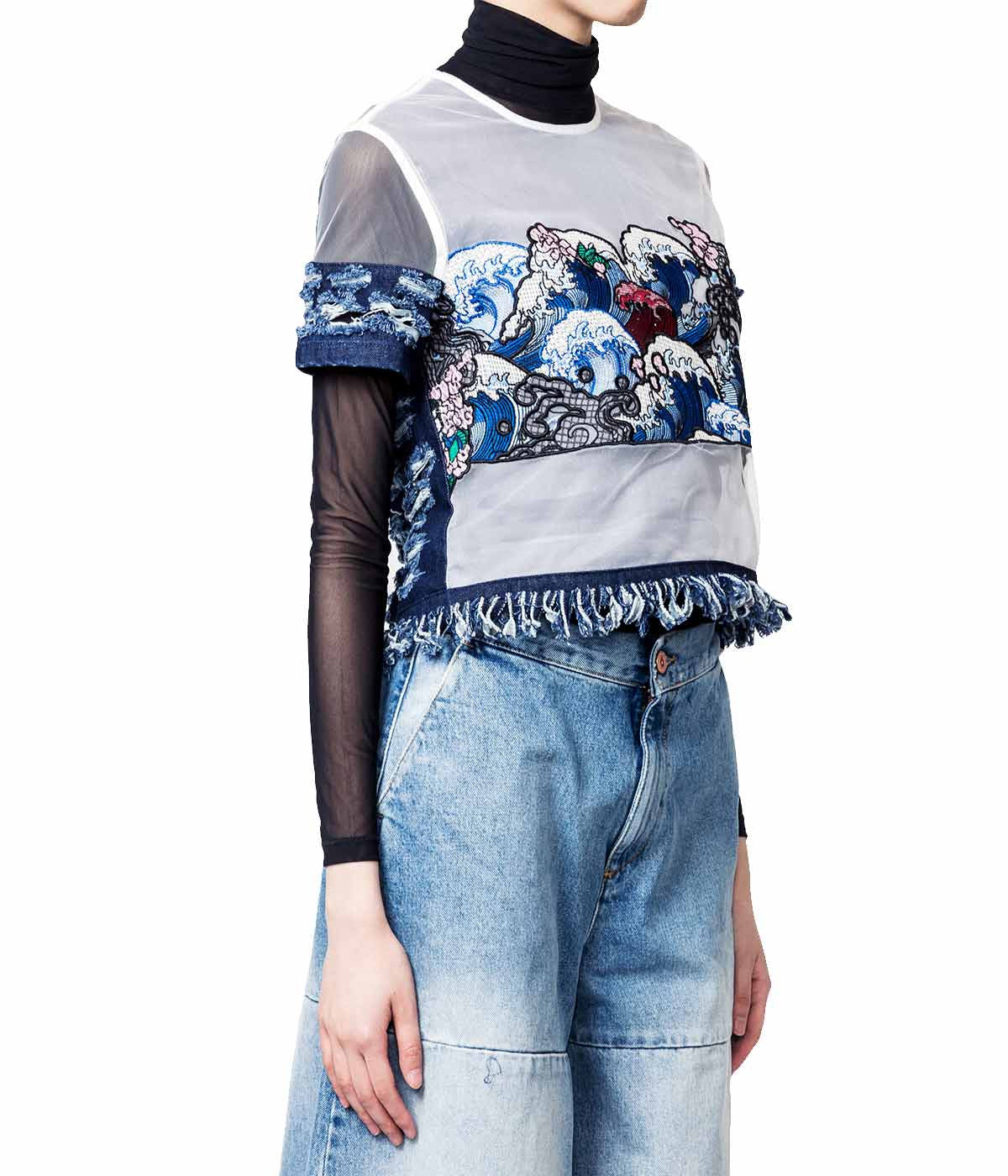 Embroidered Denim & Mesh Top