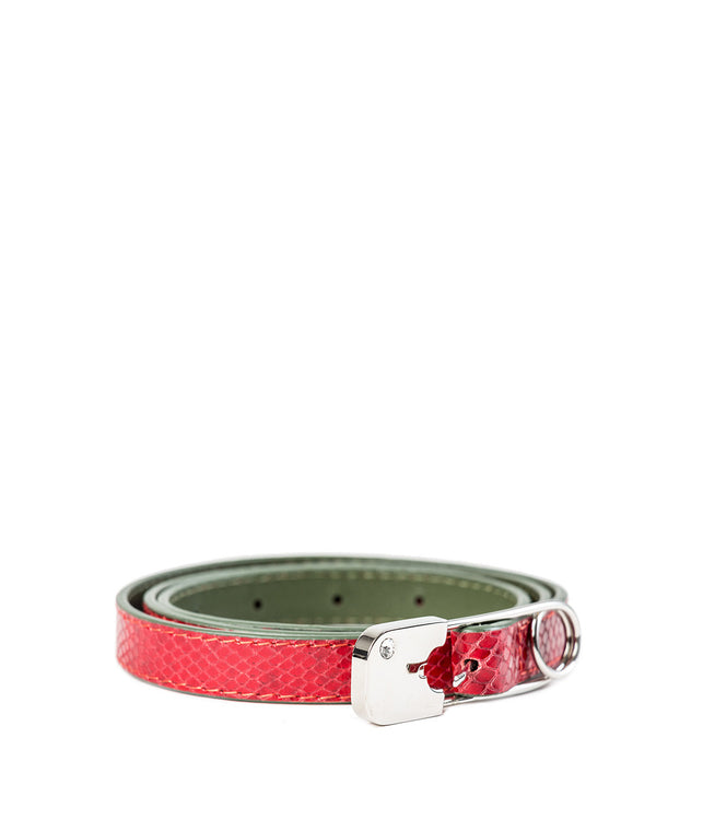 Red Skinny Safety Pin Belt