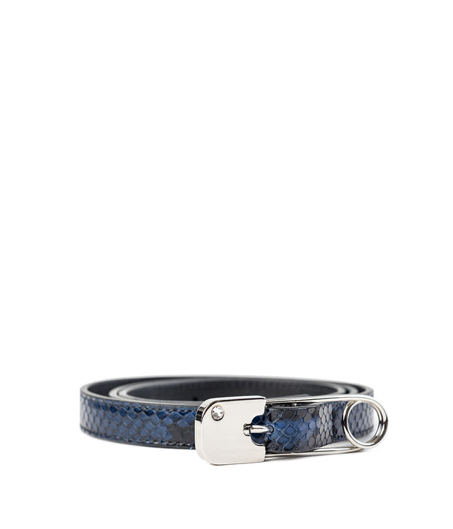 Navy Blue Skinny Safety Pin Belt