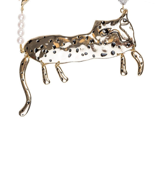 Gold Abstract Cat Necklace