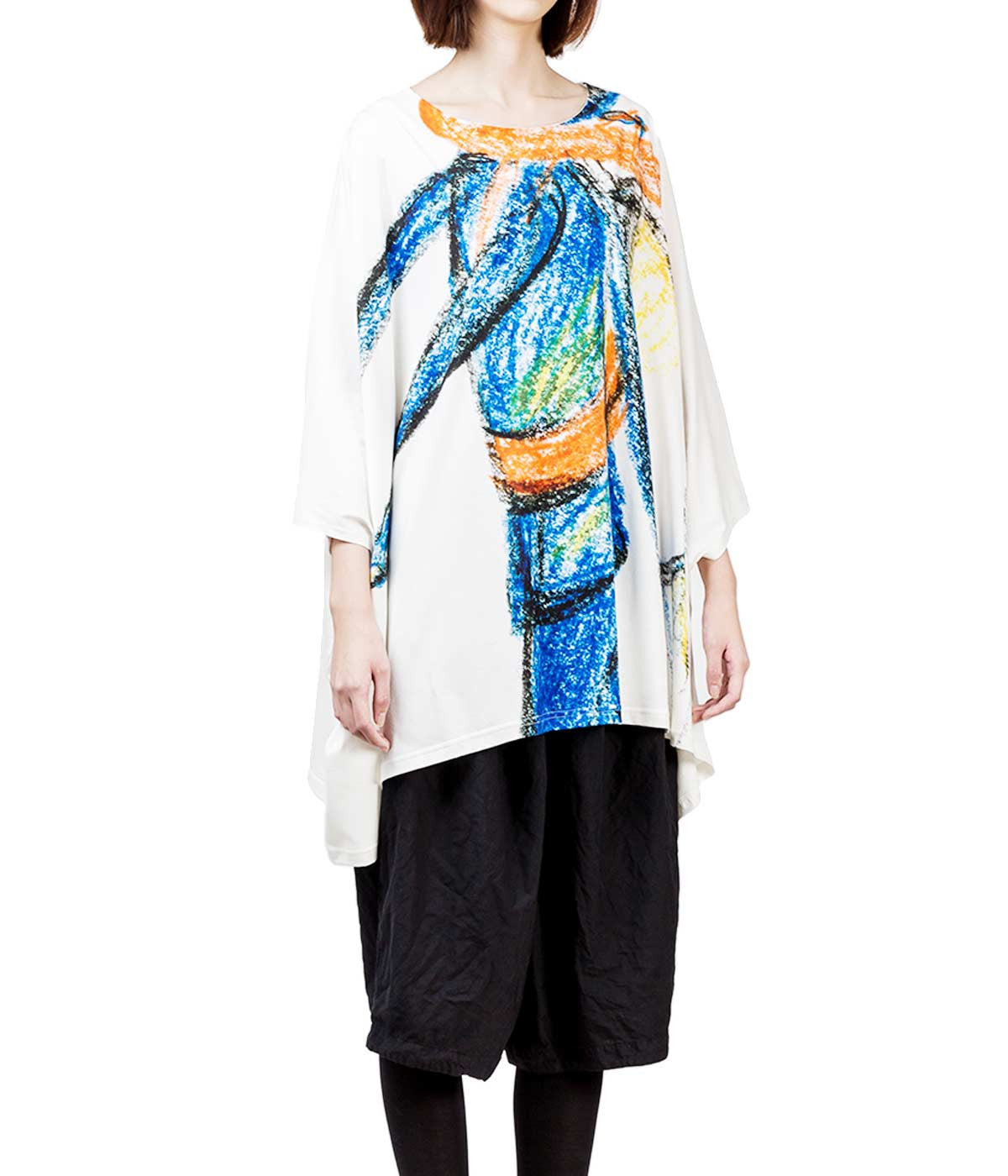 Graphic Printed Poncho