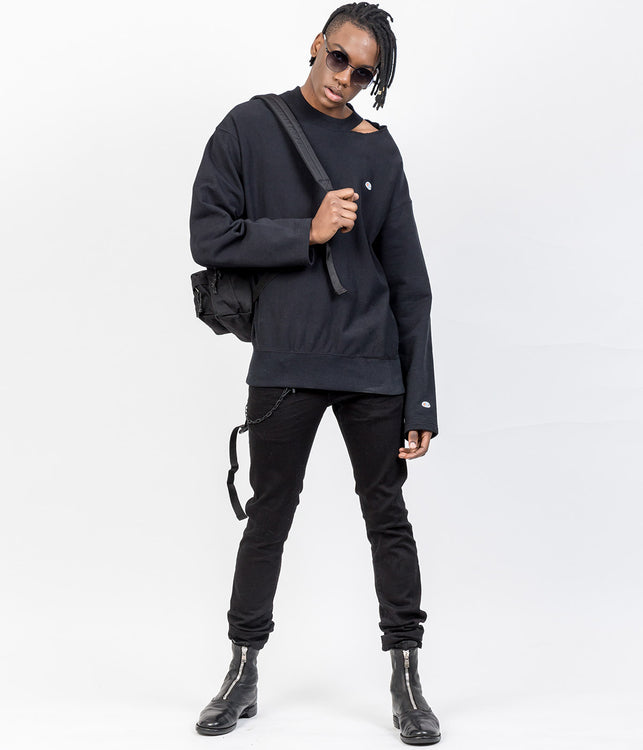 Champion Black Ripped Collar Sweatshirt