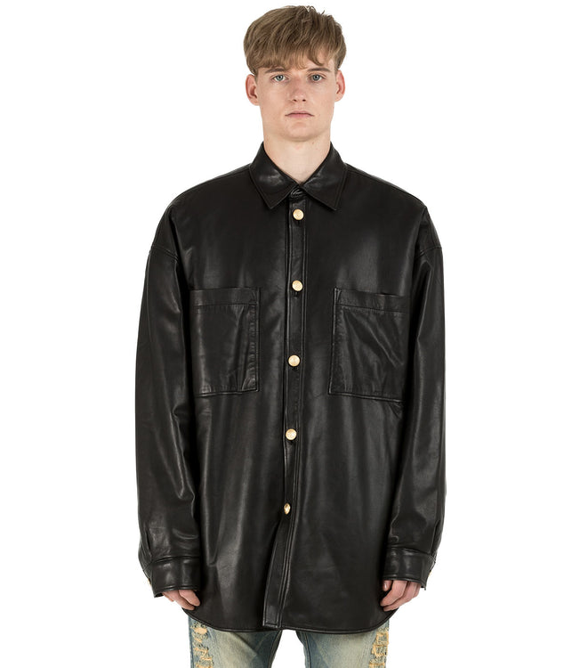 Black Padded Lamb Leather Shirt