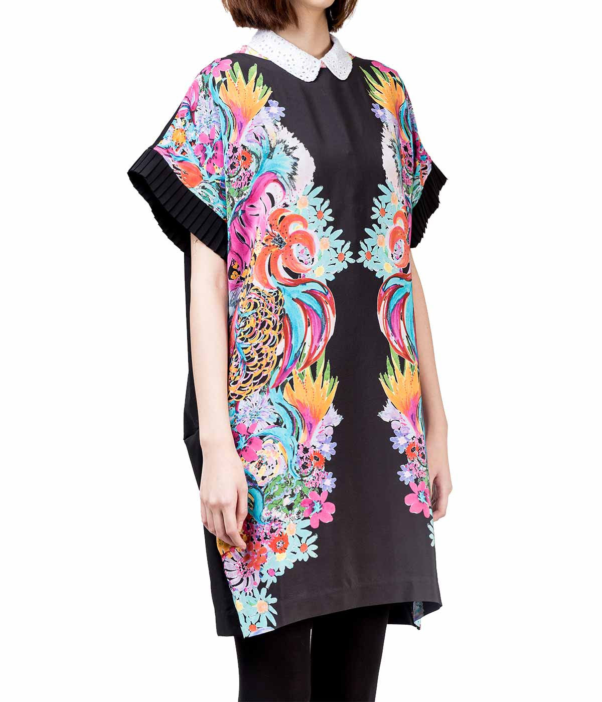 Printed Sea Flowers Silk Shift Dress