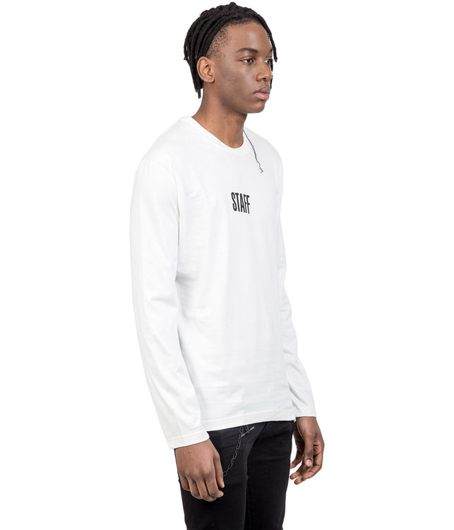 Hanes White Staff Long Sleeved T-Shirt
