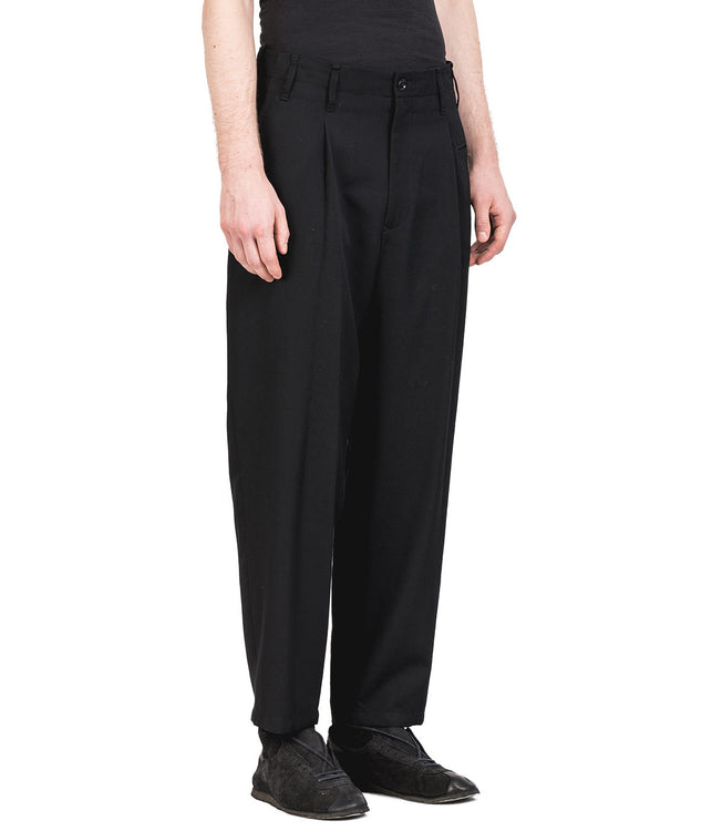 Black Loose Fit Wool Pants