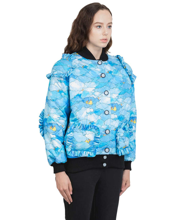 Light Blue Graphic Bomber Jacket