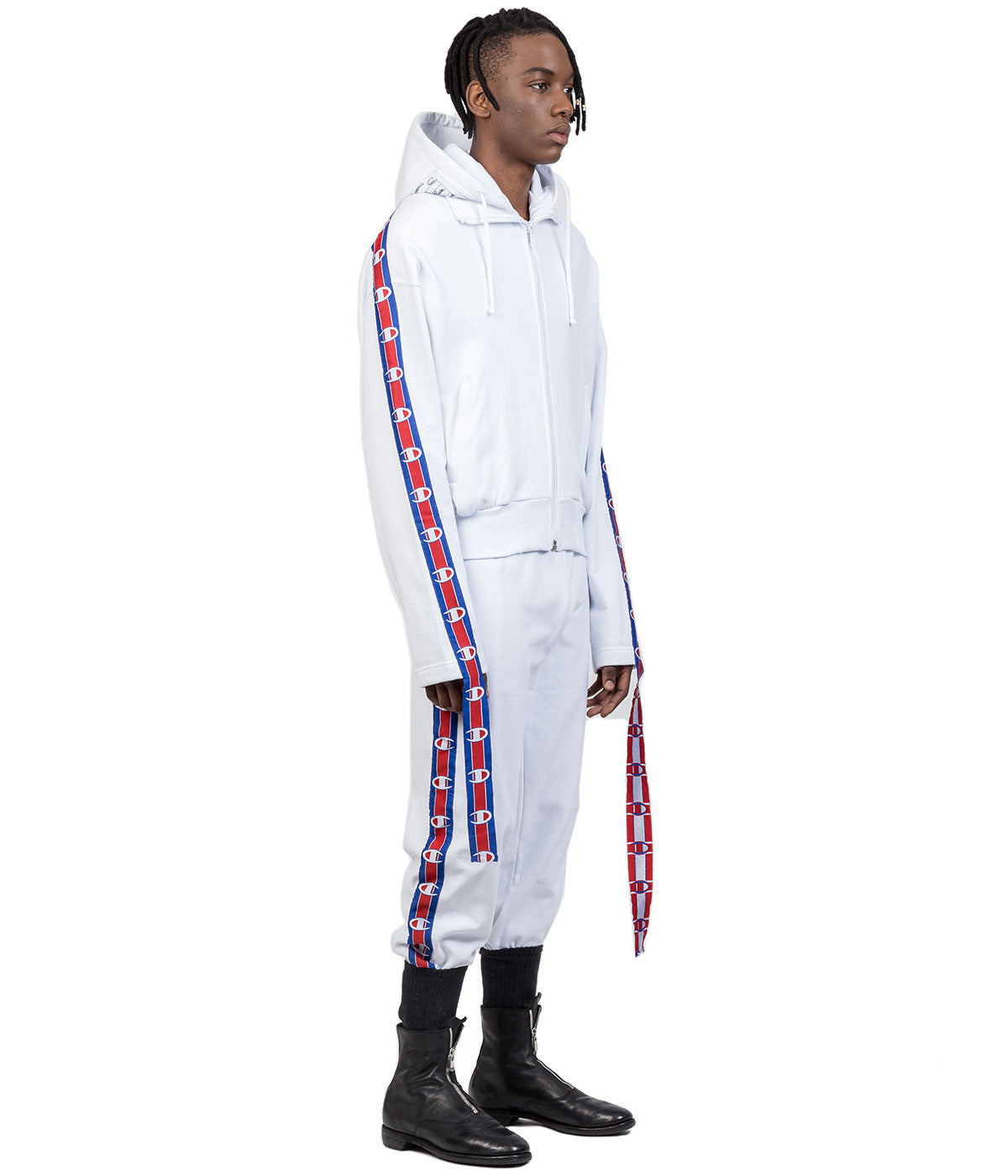 Champion White Zip-Up Logo Ribbon Hoodie