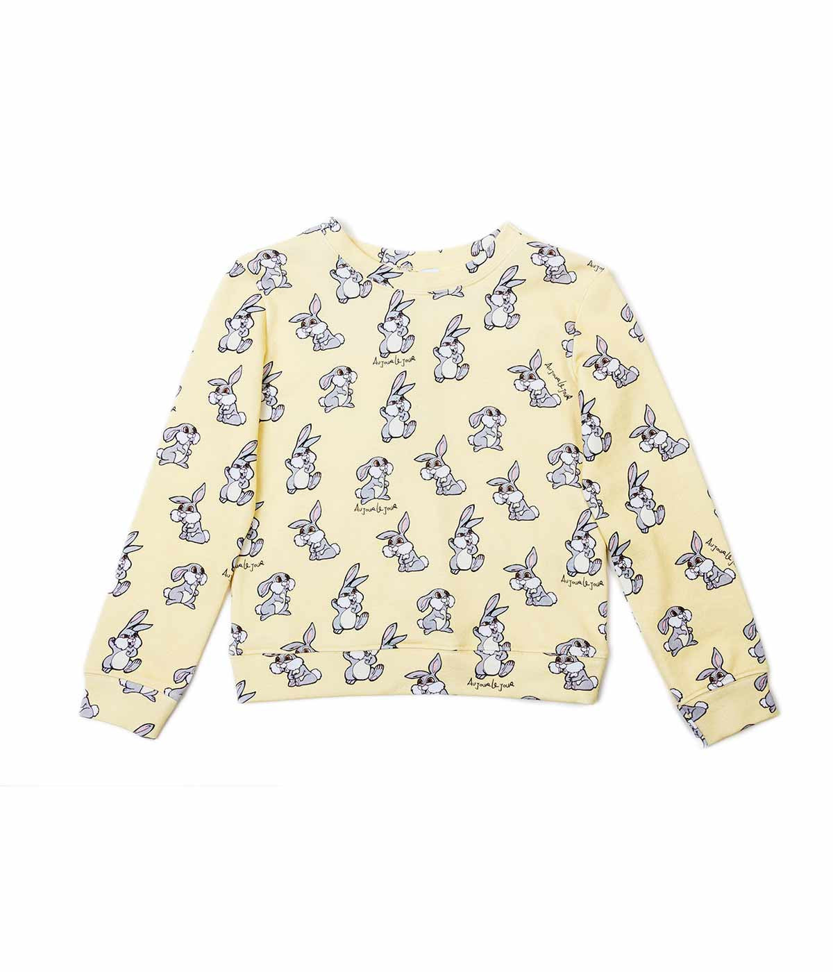 Yellow Allover Rabbit Print Sweatshirt