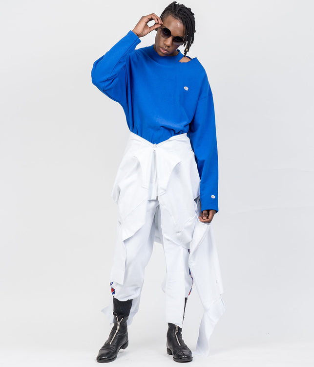 Champion Blue Ripped Collar Sweatshirt