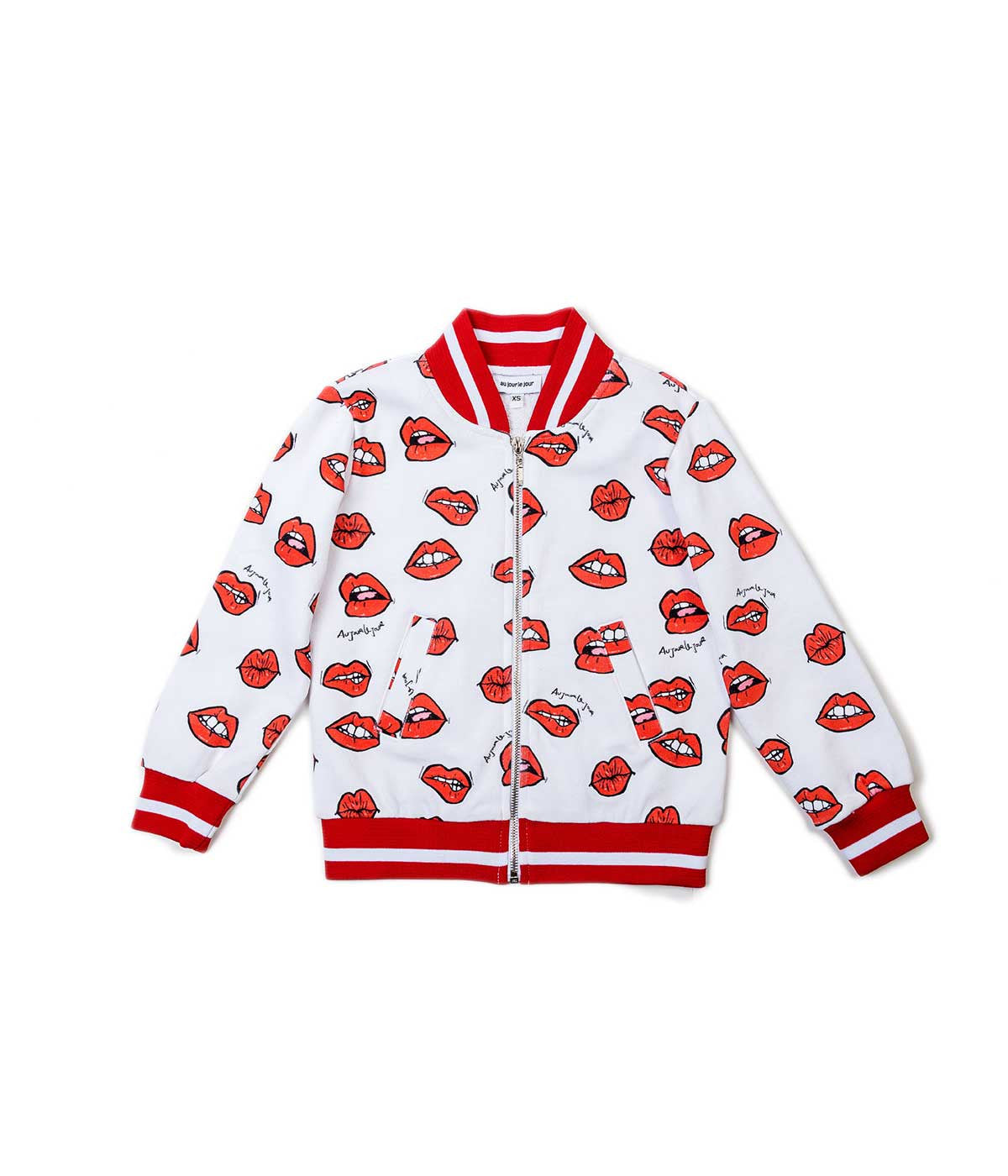 White Red Lip Print Bomber Jacket