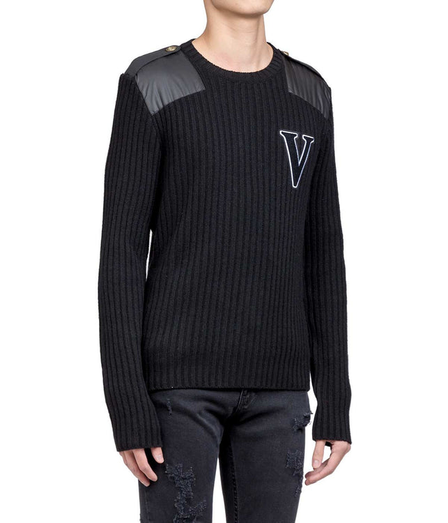 Black V Logo Sweater