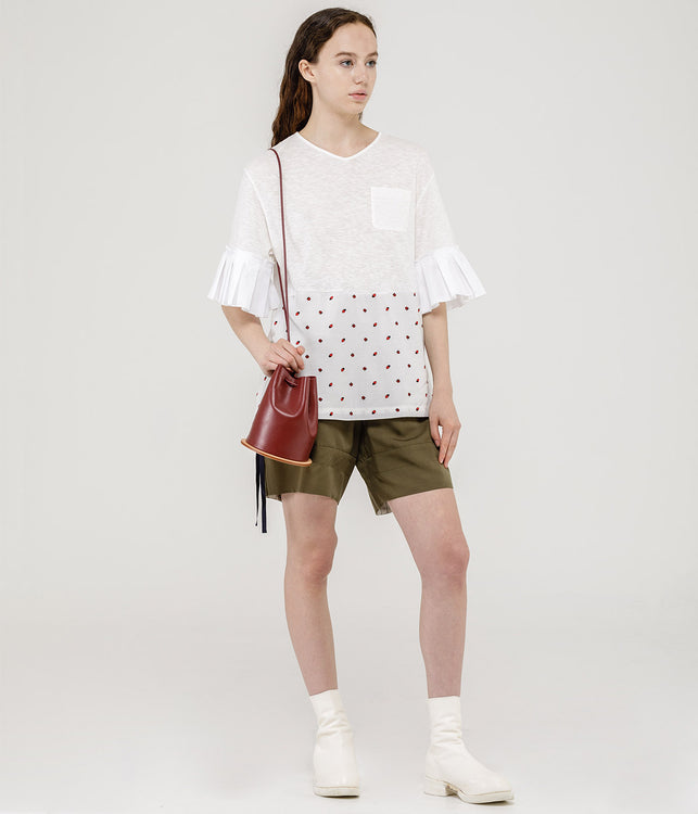 White Fruit Print Shirt