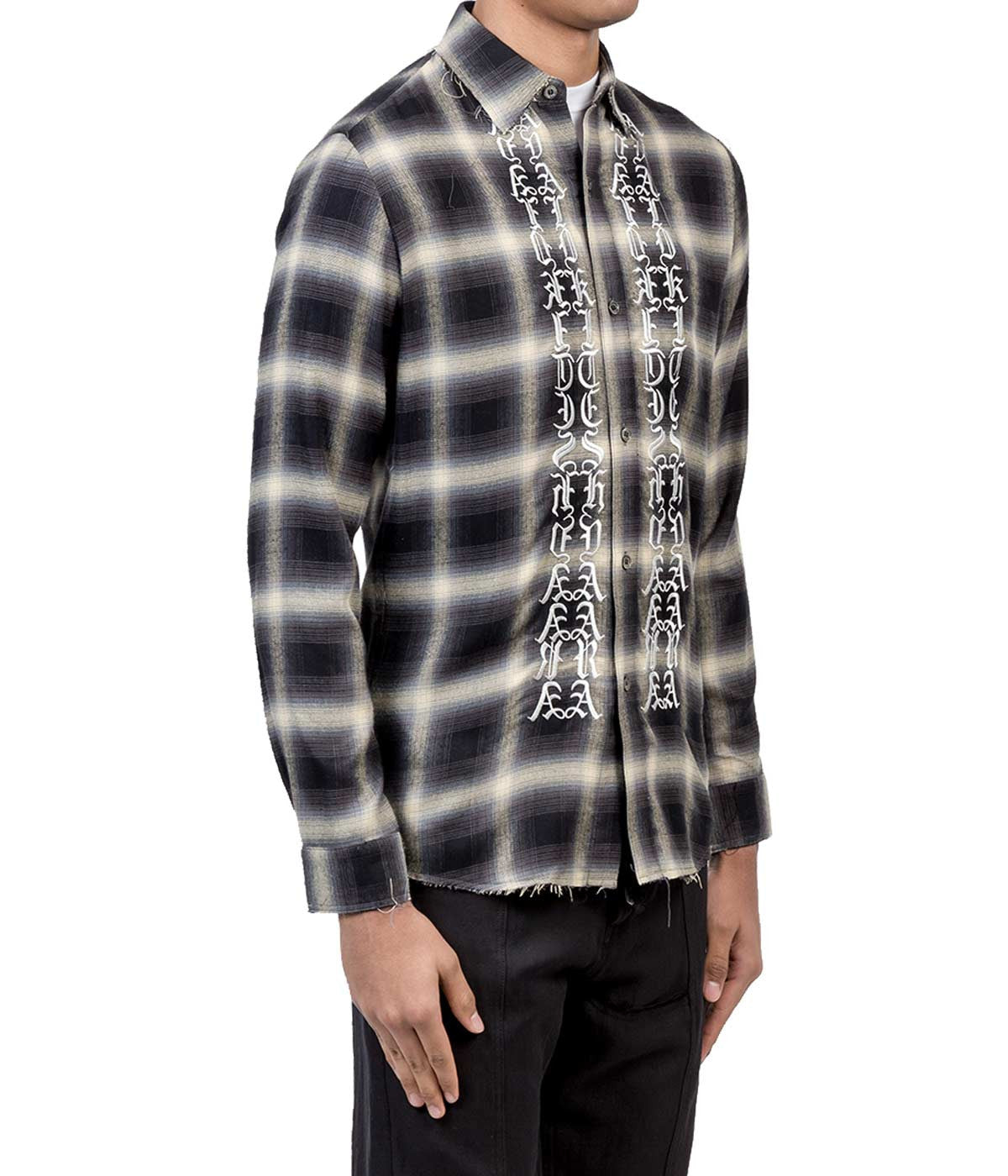 Black Embroidered Plaid Shirt