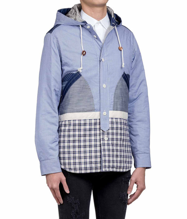 Blue Mixed Fabric Short Parka