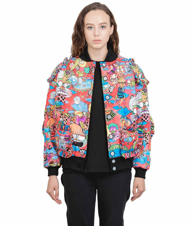 Red Graphic Bomber Jacket