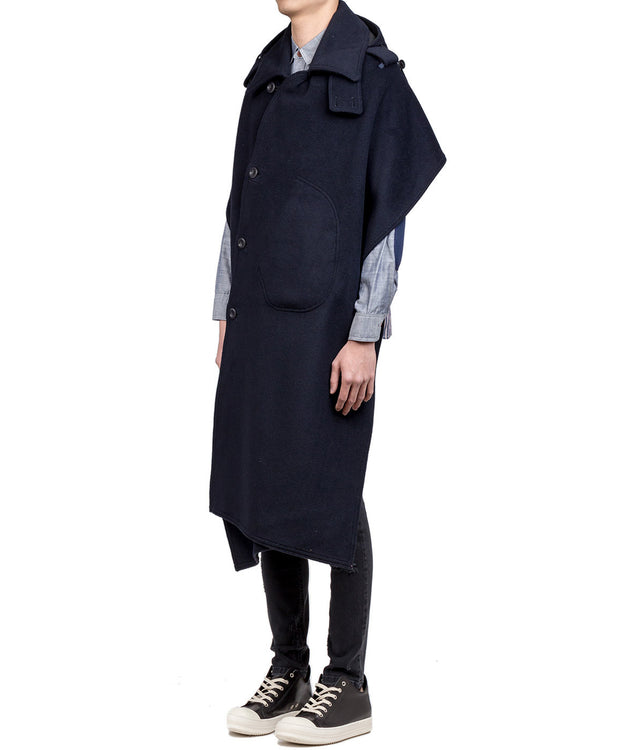 Dark Navy Asymmetrical Half Cape