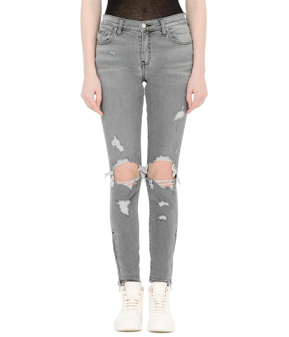 Grey Distressed Thrasher Jeans