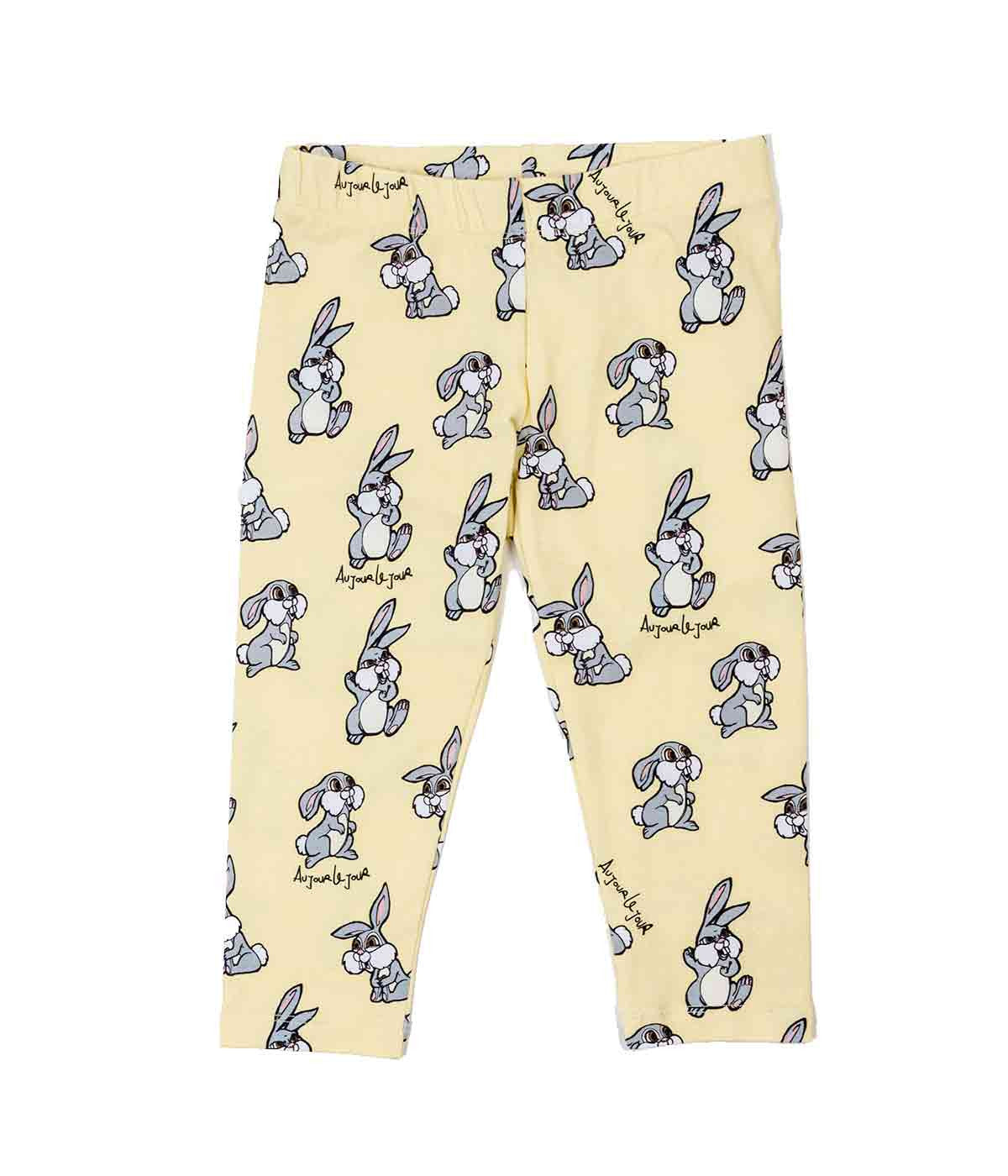 Yellow Rabbit Print Leggings
