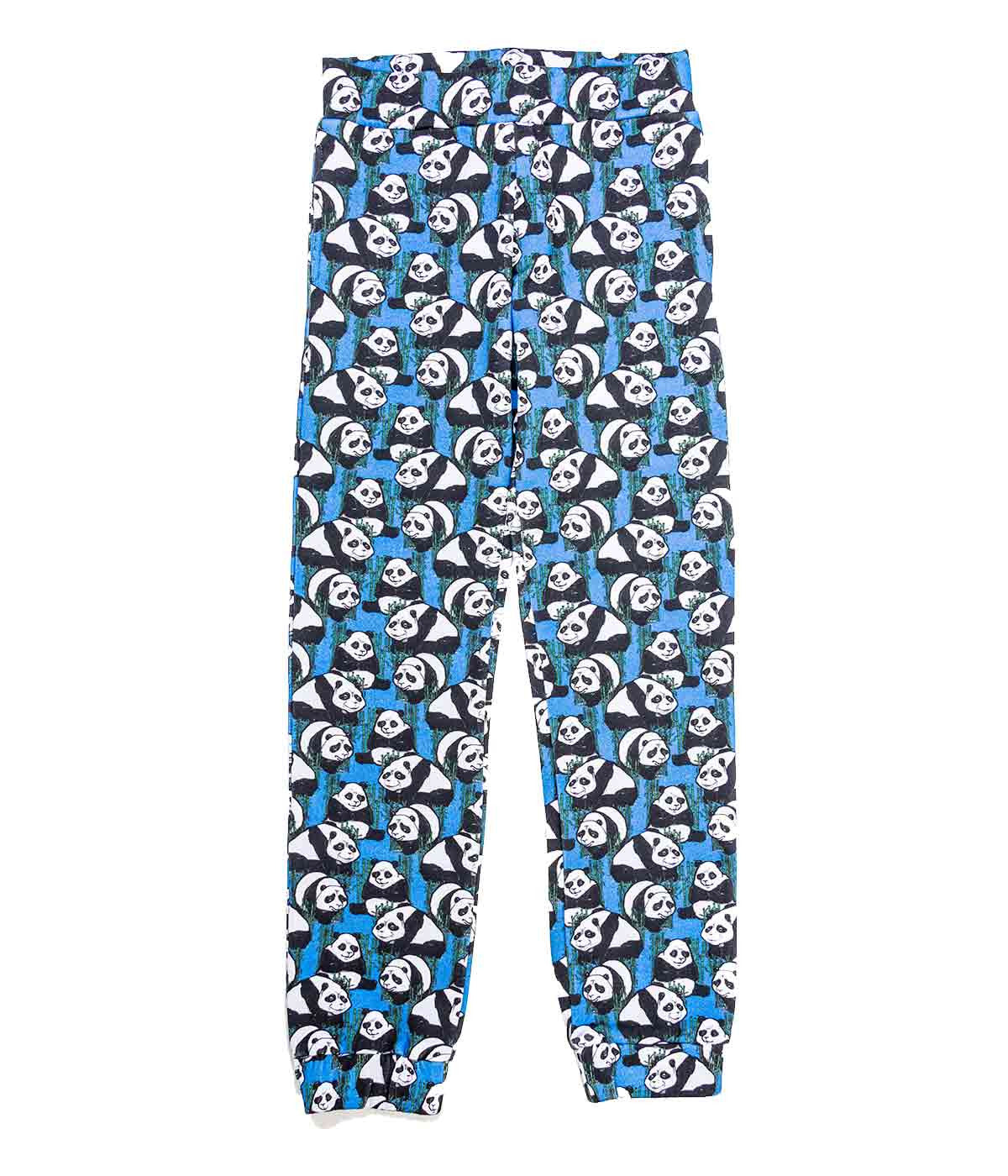 Blue Panda Print Fleece Pants