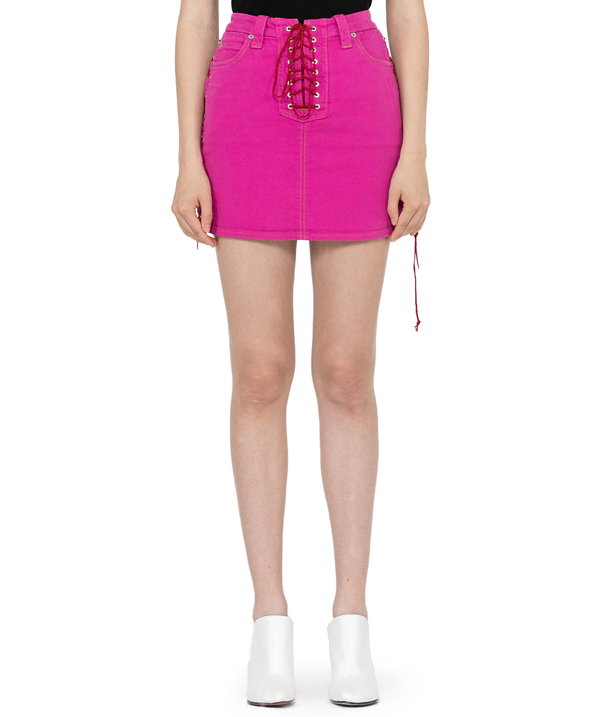 Fuschia Waxed Denim Lace-Up Skirt