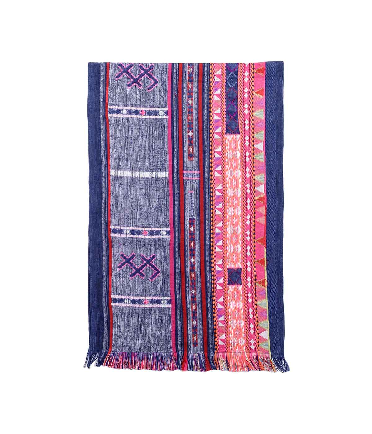 Navy Embroidered Indian Scarf