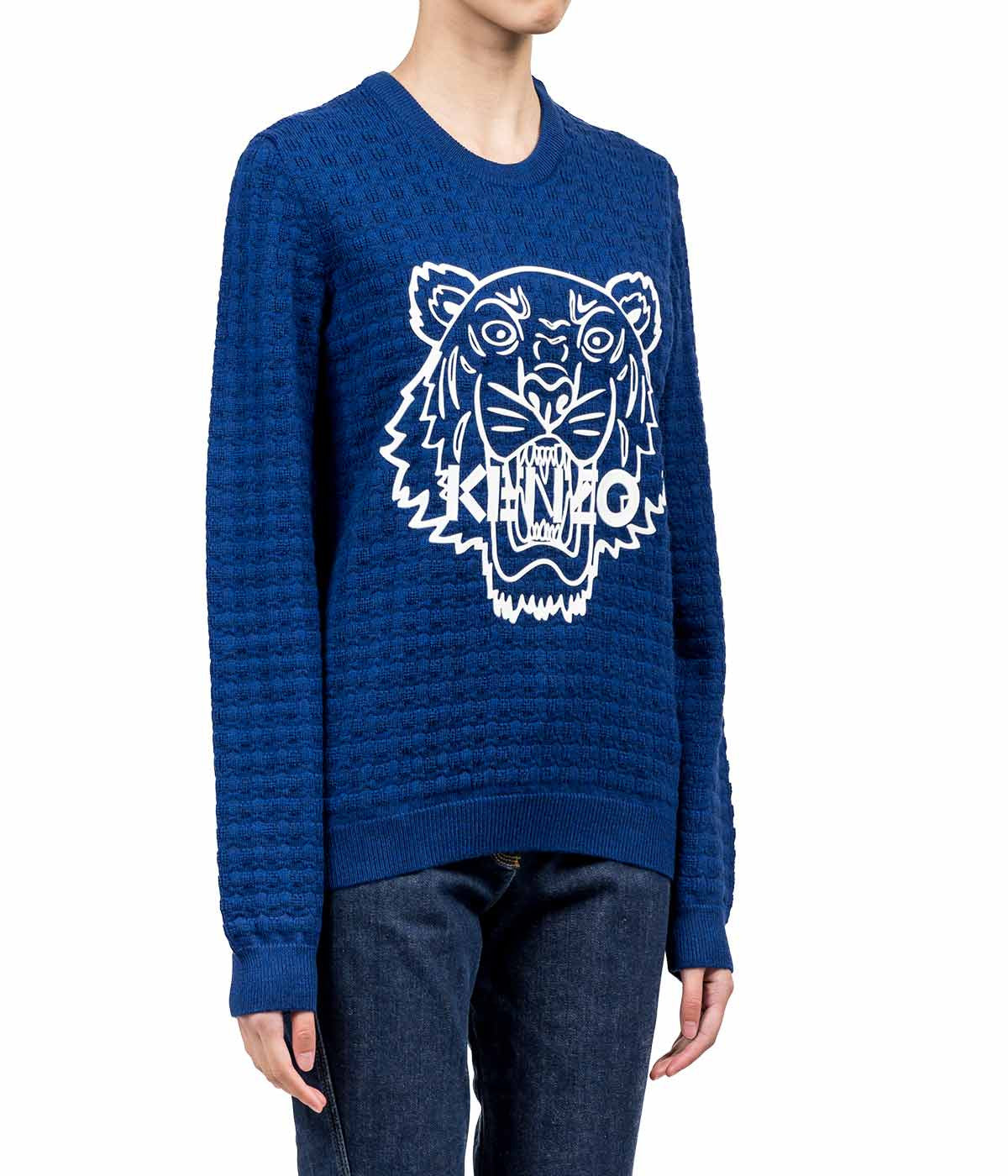 Ink Blue Silicone Tiger Textured Sweater