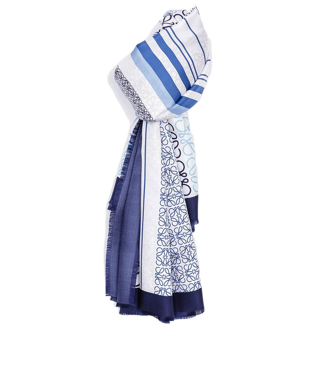 Blue Patched Anagram Scarf