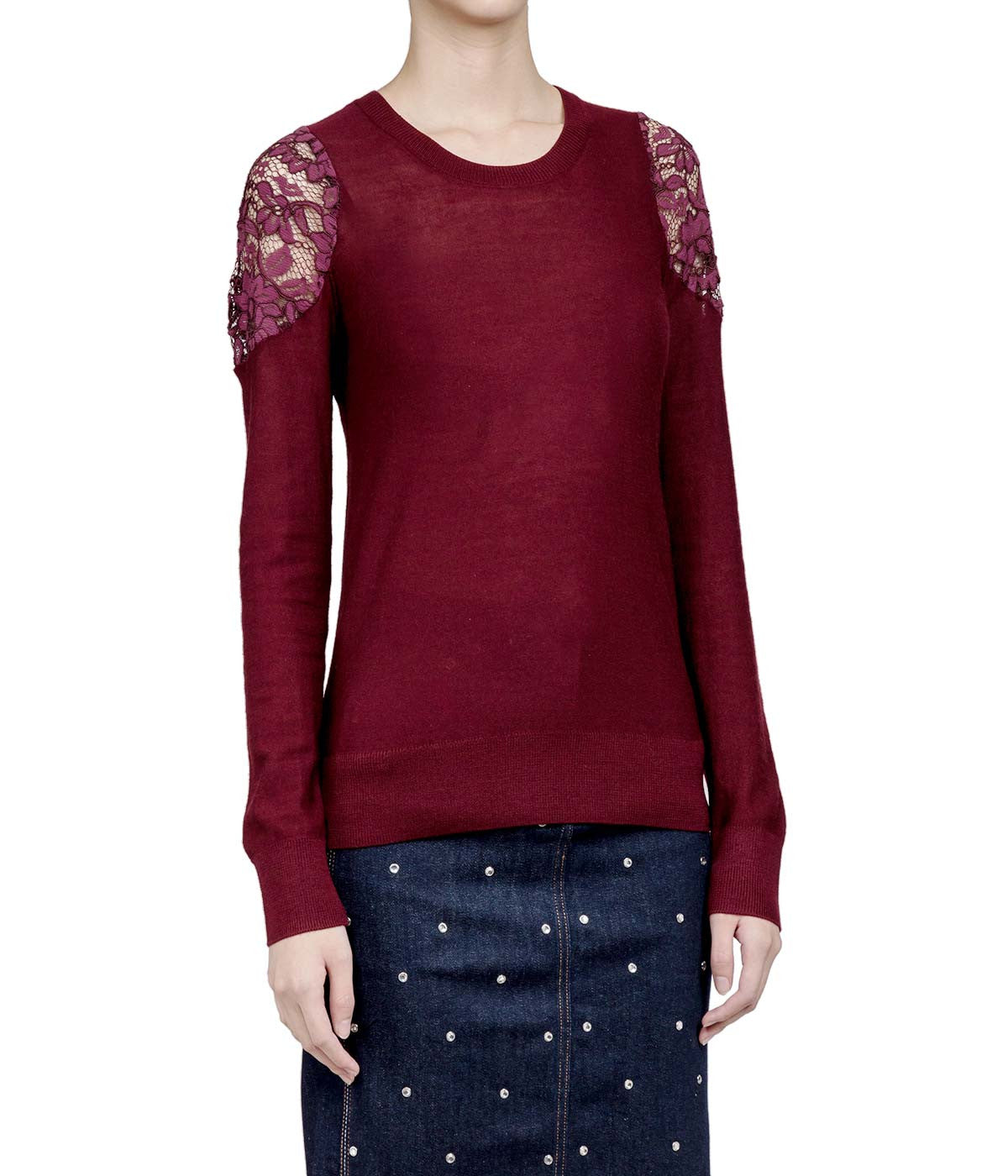 Burgundy Lace Panelled Sweater