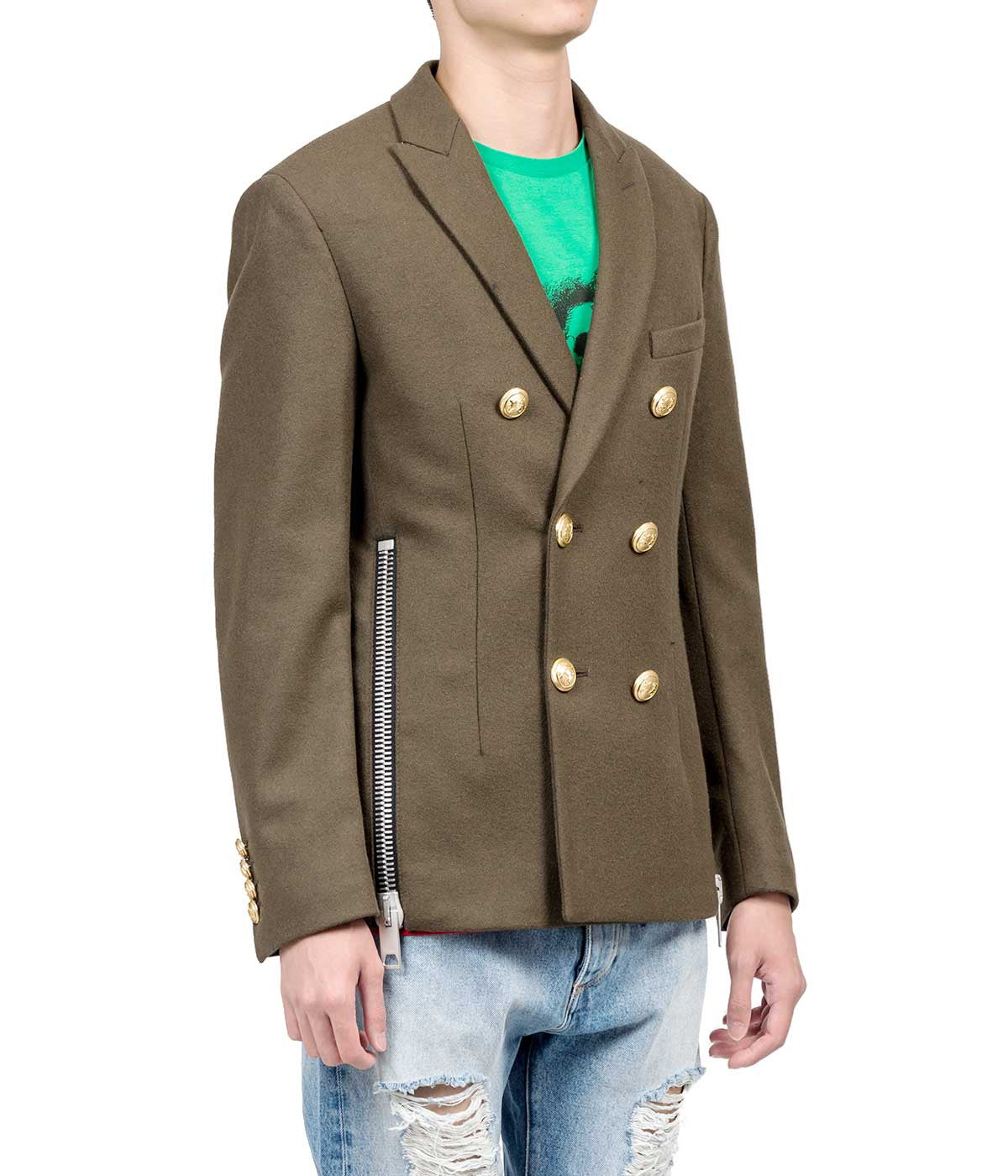 Military Green Double-Breasted Blazer