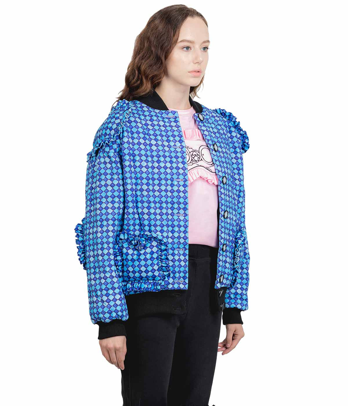Blue Checkered Bomber Jacket