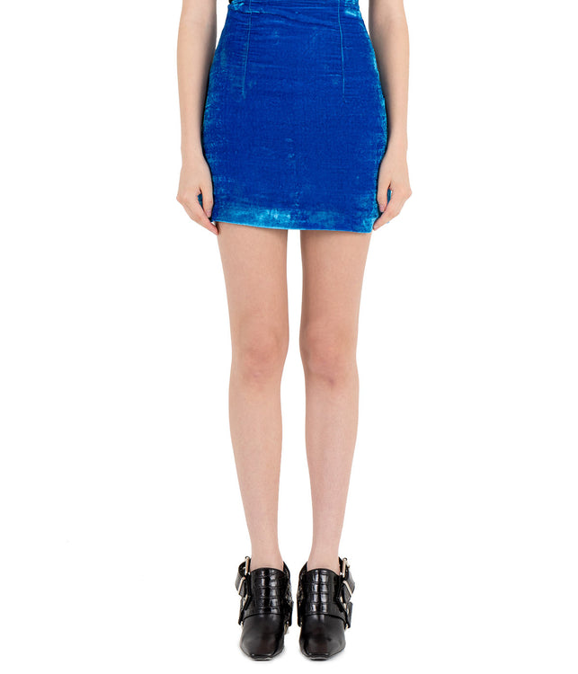 Blue Crushed Velvet Mini Skirt
